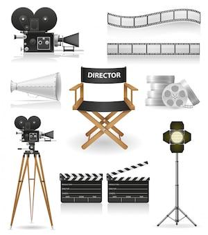 Conjunto de cinema cinematografia e ilustração vetorial de filme