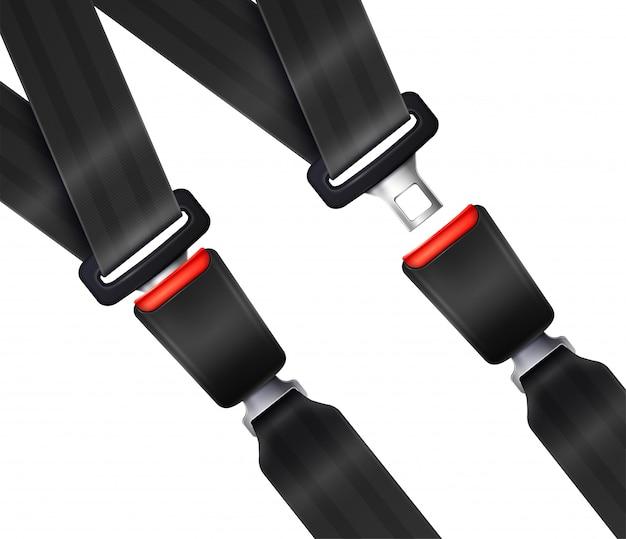 Conjunto de cintos de segurança de transporte realista com ilustração de cinta preta texturizada