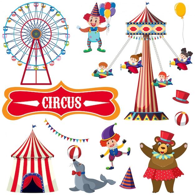 Conjunto de circo com muitas pessoas e animais