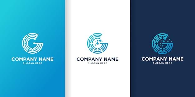 Conjunto de círculo criativo, design de logotipo de letra g de tecnologia