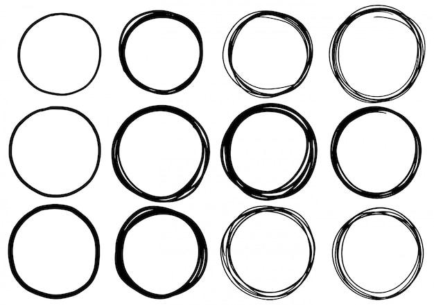Conjunto de círculo de rabisco desenhado de mão