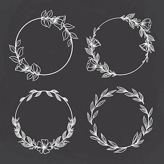 Conjunto de círculo floral ou moldura circular com estilo desenhado à mão
