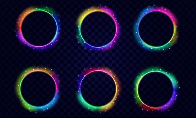Conjunto de círculos abstratos de luz brilhante com estrelas brilhantes