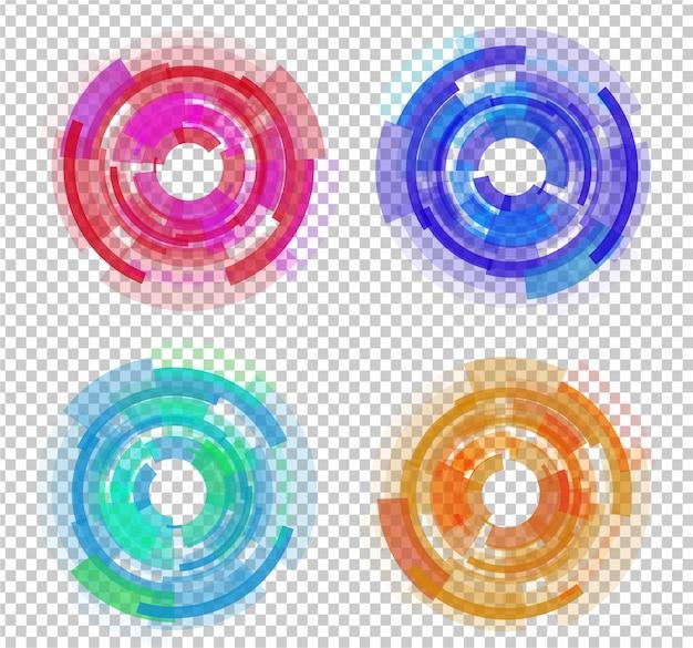 Conjunto de círculos coloridos abstratos