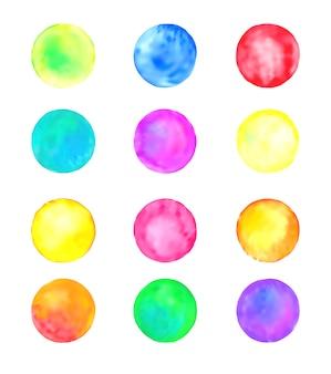 Conjunto de círculos de aquarela vector pastel