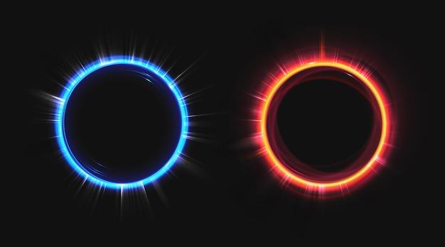 Conjunto de círculos de efeito de holograma