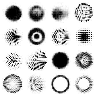 Conjunto de círculos de efeitos de meio-tom monocromático