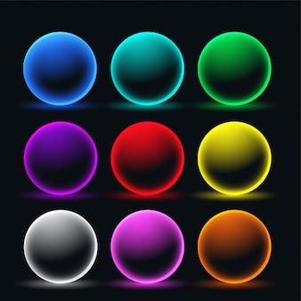 Conjunto de círculos de esfera brilhante de néon