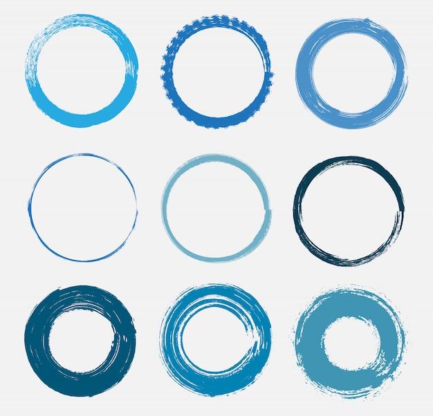 Conjunto de círculos de grunge azul