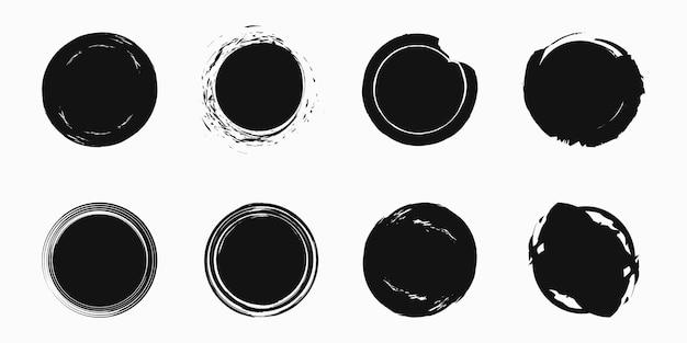Conjunto de círculos de grunge, formas redondas de grunge, ilustração vetorial.