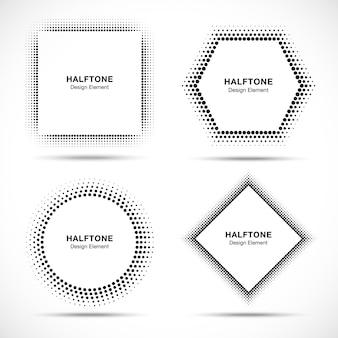 Conjunto de círculos de meio-tom abstrato preto