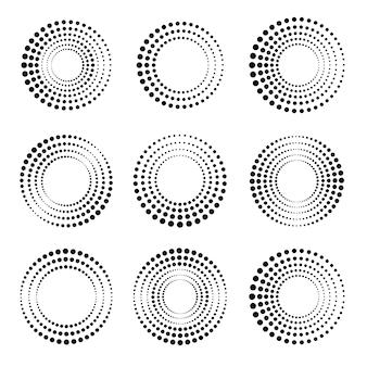 Conjunto de círculos de meio-tom. coleção de formas circulares pontilhadas