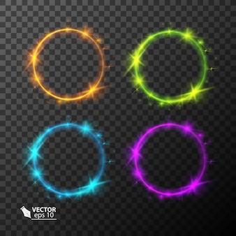Conjunto de círculos de néon com efeito de luz de cores diferentes