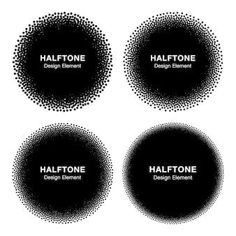 Conjunto de círculos de pontos de meio-tom abstratos.
