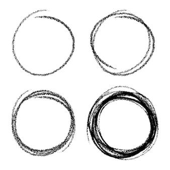 Conjunto de círculos de rabisco desenhados à mão