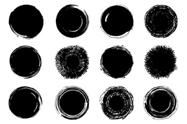 Conjunto de círculos de rabisco mão desenhada