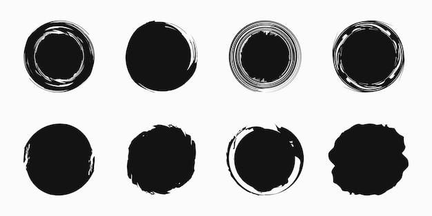 Conjunto de círculos desenhados à mão, elementos de design vetorial
