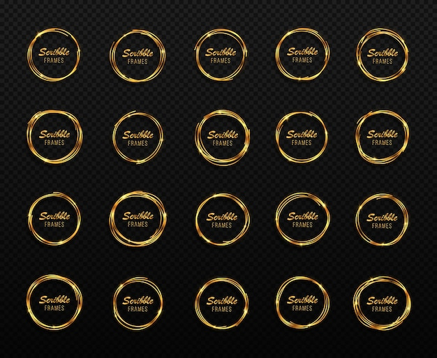 Conjunto de círculos dourados desenhados à mão molduras de círculos de rabisco