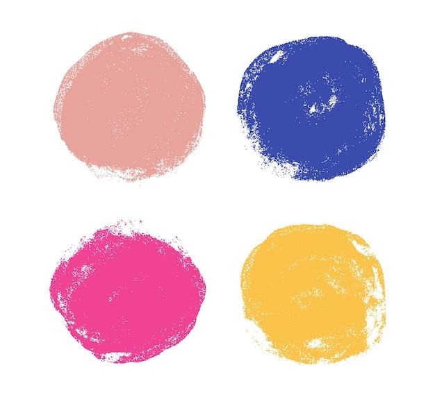 Conjunto de círculos em aquarela de grunge abstrato