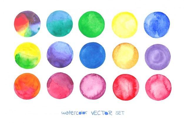 Conjunto de círculos em aquarela