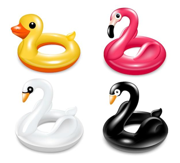 Conjunto de círculos infláveis para nadar na piscina.