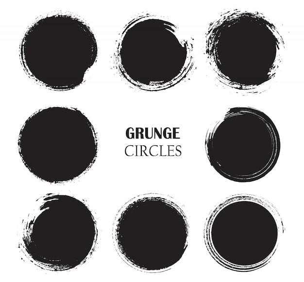 Conjunto de círculos no estilo grunge