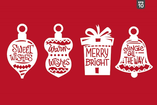 Conjunto de citação de natal. arquivo de corte para adesivo e decoração