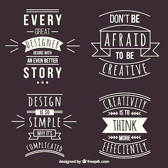Conjunto de citações de design gráfico em estilo simples