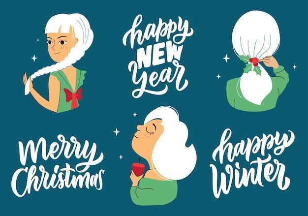 Conjunto de citações de férias de meninas de inverno. coleção de mulheres para adesivos de logotipos de projetos de feliz natal