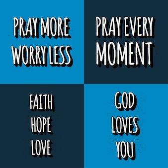 Conjunto de citações de letras cristãs. frases de motivação