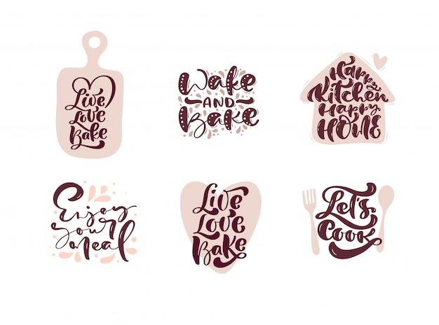 Conjunto de citações de letras de caligrafia de cozinha para cozinha de blog de comida de logotipo.