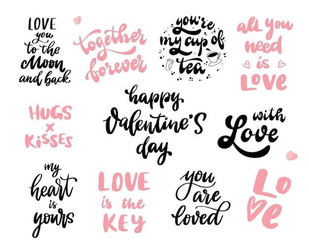 Conjunto de citações de letras de mão do dia dos namorados