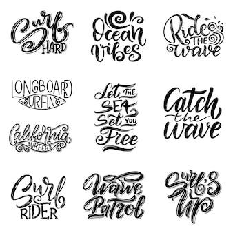 Conjunto de citações de letras de surf para cartazes, gravuras, cartões. design têxtil relacionado ao surf. ilustração vintage