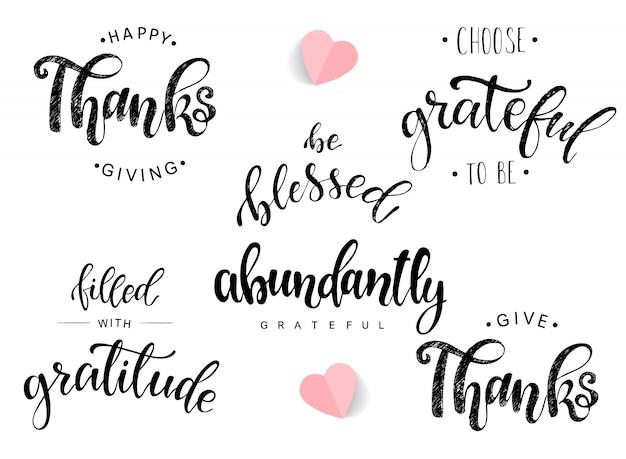 Conjunto de citações de letras para o dia de ação de graças