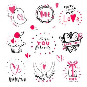 Conjunto de citações de mão desenhada de amor com doodle em vetor. mensagens de amor. mão, lettering