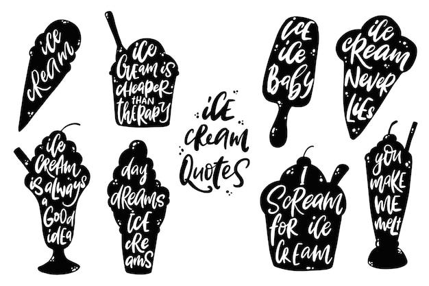 Conjunto de citações de sorvete