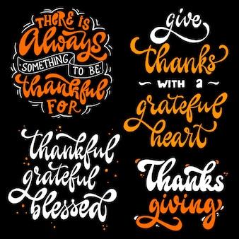 Conjunto de citações do dia de ação de graças