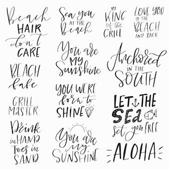 Conjunto de citações engraçadas inspiradoras de verão