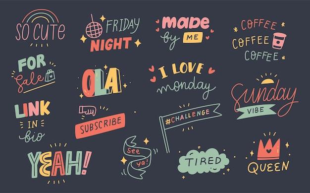 Conjunto de citações fofas doodle