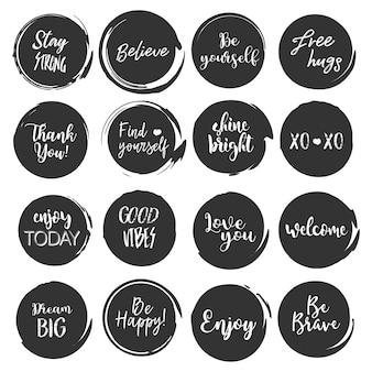 Conjunto de citações gob de pintura de forma redonda com slogan