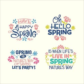 Conjunto de citações inspiradoras de caligrafia sobre a primavera
