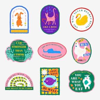 Conjunto de citações motivacionais de vetor de distintivo de ilustração de animais fofos