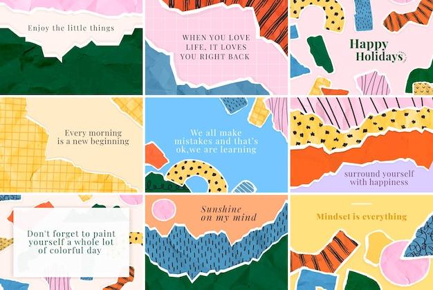 Conjunto de citações motivacionais prontas para imprimir