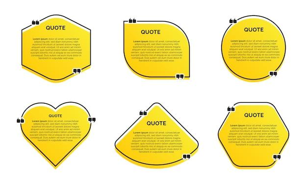 Conjunto de citações na moda moderna com fundo amarelo