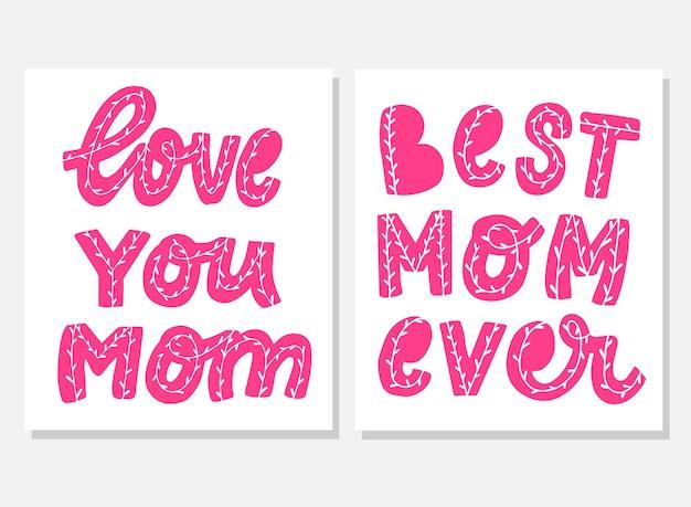 Conjunto de citações para cartão de dia das mães