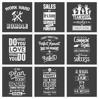 Conjunto de citações tipográficas de motivação de negócios vintage.