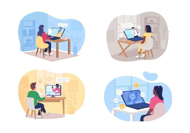 Conjunto de classe remota. homem e mulher assistindo personagens planas de tutorial on-line no desenho animado. patch para impressão do elearning,