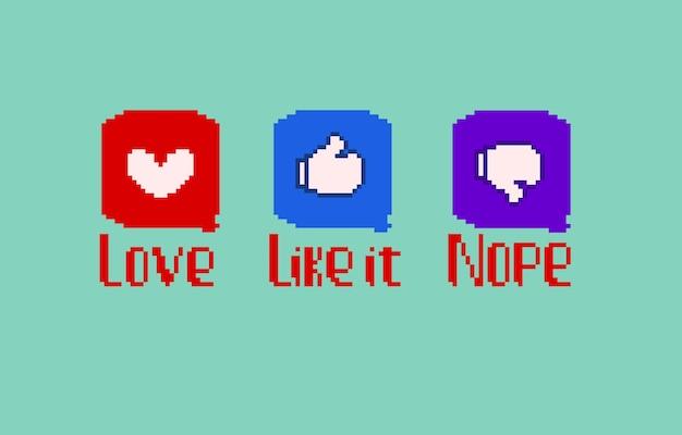Conjunto de classificação com estilo pixel art