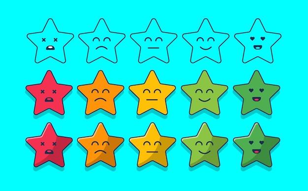 Conjunto de classificação de satisfação de estrelas de feedback