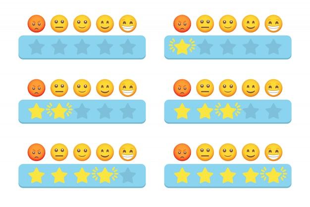Conjunto de classificação por estrelas com estrelas e emoji para feedback dos clientes em um design plano